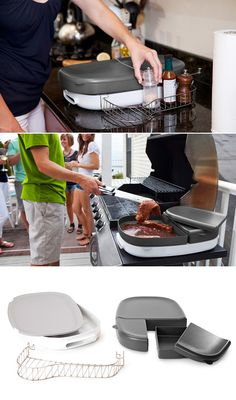 Porter is a multi-purpose BBQ tray that eliminates extra trips between your kitchen and grill. Containers with lids keep raw food safely separated, while a serving platter and condiment caddy hold everything a grill chef needs at hand.