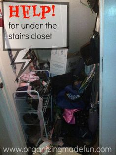 Help for under the stairs coat closet | OrganizingMadeFun.com