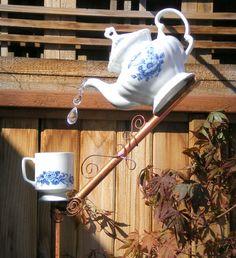 Bird Feeder, Ceramic Tea Pot and Cup Bird Feeder, Handmade Functional Garden/Yard Art