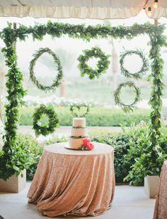 hanging wreath cake backdrop