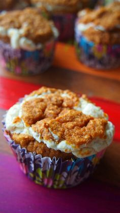 Low calorie pumpkin cream muffins