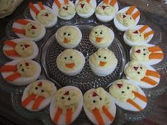 Easter Bunny Deviled Eggs.  Carrots for Ears.
