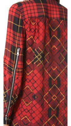 McQ Alexander McQueen pleated tartan shirt