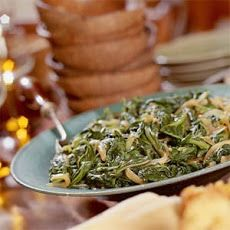 Turnip Greens With Caramelized Onions Recipe (sub oil for the butter and skip the brown sugar)