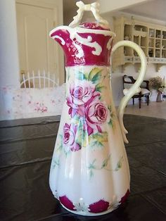 Limoges Chocolate Pot or Cocoa Pot Hand Painted Red Roses ... Simply Stunning