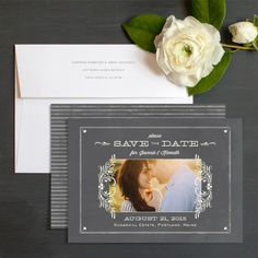 Classic Chalkboard Save The Date Cards By Jennie Hake | Elli