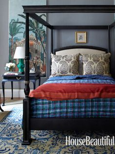 Guest bedroom. Design: Michael S. Smith. Photo: William Abranowicz. housebeautiful.com #bedroom #plaid_bedding #canopy_bed #indian_quilt