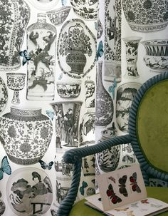 Jardin Bleu in Sepia and Turquoise, Manuel Canovas New Manon Collection.
