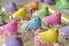 Easter Peeps Dipped In White Chocolate And Sprinkles.  Love! easter