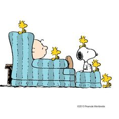 Charlie Brown watching TV with friends and family