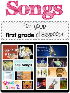 A day in first grade: Songs for your first grade classroom - YouTube account with great first grade songs