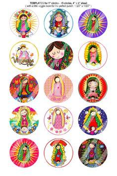 151 Digital Bottle Cap Images Virgencita Plis by BeautifulDigitals, $1.25