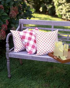 outdoor pillows made from vinyl tablecloth