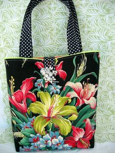 Vintage Black Floral Barkcloth Tote or Purse