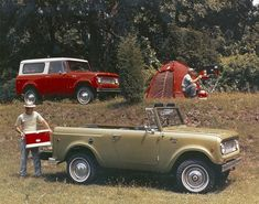 1972 International Scouts, one a 4x4 with the top removed (foreground) and the other a standard model.