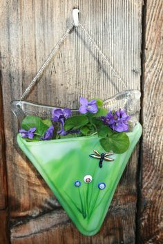 Streaky Spring Green Fused Glass Pocket Vase by DragonfliesCeilidh, $29.00
