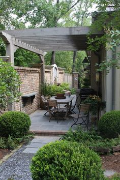 Pergola connected to house and fence, over dining area in courtyard.   fantastic design for narrow patio - James Farmer Gardens Ideas, Fantastic Design, Outdoor Rooms, Outdoor Living, Side Yards, Narrow Patio, Brick Walls, Outdoor Spaces, James Farmers
