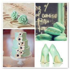 pastel, favors, mint green, cakes, colors, sweet treats, macaroons, earrings, parti