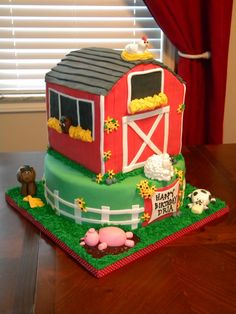 Barn Birthday Cake - Barn cake for a 3-year-old's party at a farm.  All fondant with gumpast/fondant animals.