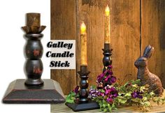 Galley Candle Stick with an aged look is perfect for your battery operated tapers.