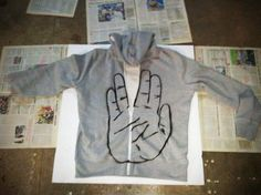 Vulcan Sweater DIY.  Use a cheap hoodie, use poster board to cut out the stencil, and fabric paint. DIY dude gift.