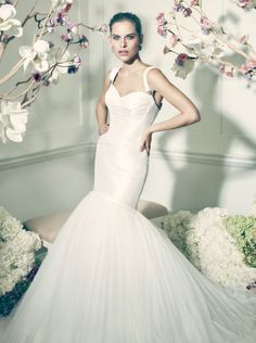 Truly Zac Posen Taffeta Fit and Flare Gown with Corset Seaming Style ZP345006 #davidsbridal #weddingdresses