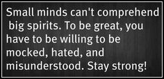 Small minds can't comprehend Big spirits...Stay Strong Inspirational Picture Quote