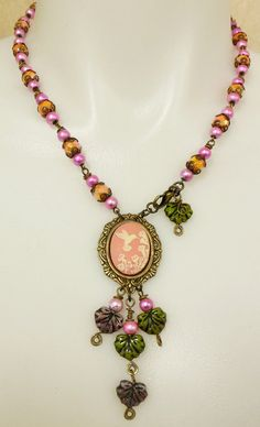 Hummingbird Cameo Necklace Czech Glass by bsueboutiquesjewelry, $39.90
