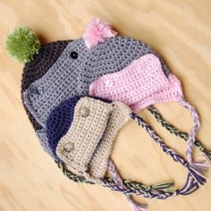 Keep your little one warm and cozy in this cute and easy eskimo hat.