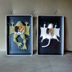 """Emily Stoneking is selling various knitted dissected animals in a series she calls aKNITomy. Emily has been knitting since 2001 and says why she decided to take on such an interesting subject for knitting, """"I love to explore the places where art and science intersect...""""."""