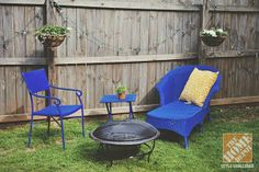 Simple Patio Decorating Ideas: Spray painted wicker furniture and a firepit. See more photos of this gorgeous backyard makeover on The Home Depot Blog. backyard makeover, patio, gardeningbackyard idea