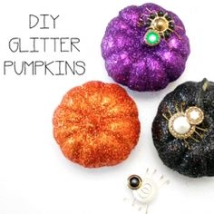 Let's add some sparkle to Halloween with these DIY Glitter Pumpkins!