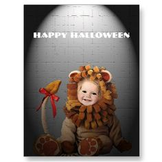 Baby Lion Halloween Postcard by SteveBrownleeArt birthday card, halloween postcard, halloween cards, 1st birthday, lion halloween, steve brownle, babi lion, birthday lion, lion birthday