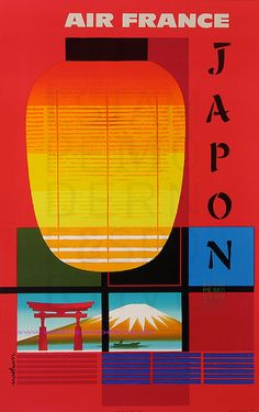 Japan Air France travel poster 1960s