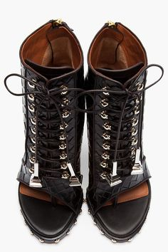 Givenchy Black Embossed Leather Open Toe Studded Ankle Boots in Black   Lyst