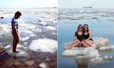 Sunbathers flock to Lake Superior... even though it's FROZEN - This was taken in late May (2014) near Marquette, Michigan.  Some ice patches will easily last into June!