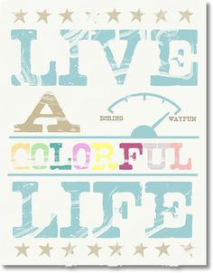 Free Printable - Live a Colorful Life - 5 different color schemes EverythingEtsy.com