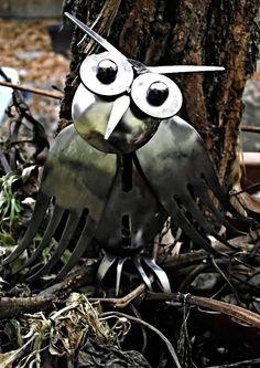 Wallace the Owl, repurposed silverware sculpture, welded metal art. $40.00, via Etsy.