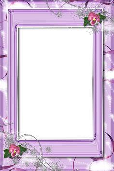 Transparent Violet PNG Frame with Flowers.