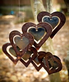 spray, heart, valentine day, garden art, metals, mobiles, gardens, wind chimes, paint