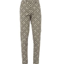 AMI Slim-Fit Patterned Cotton and Silk-Blend Trousers
