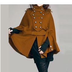 Camel cape cloak JS090 winter coat jackat douable breasted loose fit brown handmade 20% off SALE