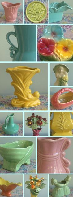 pottery, McCoy...have the yellow vase...mine is pink...was my grandmother's vintag potteri, pastel, mccoy pottery, vintage pottery, american art, spring colors, california, vintag planter, vintage vases