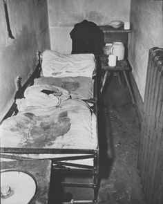 View of a cell in the Gestapo prison in Koeln (Cologne), Germany, where a female inmate was flogged to death.