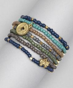 Take a look at this Blue & Green Glass Beaded Multistrand Stretch Bracelet by Majestic on #zulily today!