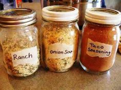 Ranch, Dry Onion Soup Mix and Taco Seasoning