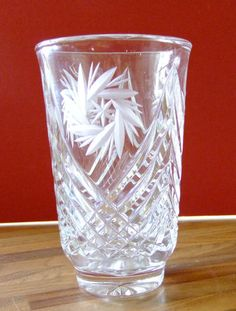 Vintage Chic Clear Glass Etched Flower Vase |