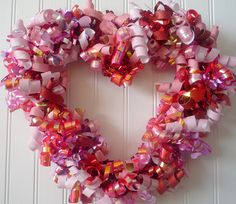 Paper and ribbon heart wreath