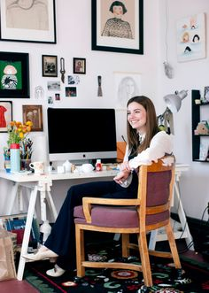 We're inspired by My Little Belleville's Michelle Christensen's eclectic workspace.
