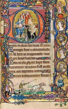 Macclesfield Psalter 7, 14th cent. England (Gorleston, Norfolk?) - Historiated initial Psalm 52: 'The fool hath said in his heart, There is no God'
